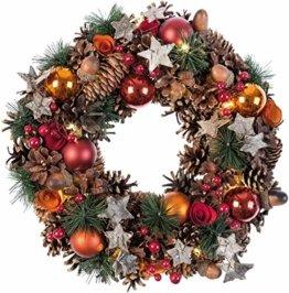 Idena 8585271 - Weihnachtskranz mit 10 LED warm weiß, mit 6 Stunden Timer Funktion, Batterie betrieben, für Deko, Weihnachten, Advent, als Stimmungslicht, Türkranz, ca. 28 cm - 1