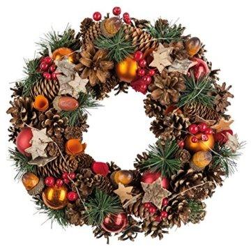 Idena 8585271 - Weihnachtskranz mit 10 LED warm weiß, mit 6 Stunden Timer Funktion, Batterie betrieben, für Deko, Weihnachten, Advent, als Stimmungslicht, Türkranz, ca. 28 cm - 4