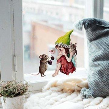 ilka parey wandtattoo-welt Fensterbild Elfe Fee & Maus Mäuschen -WIEDERVERWENDBAR- Fensterdeko Fensterbilder Winterdeko bf1 - 2