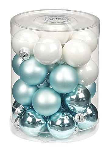 Inge-glas 15209D001-MO Glaskugel, 30 mm, 28 Stück/Dose, Cool Mint-Mix, (Porzellan weiß opal, Mint Glanz + matt) - 1