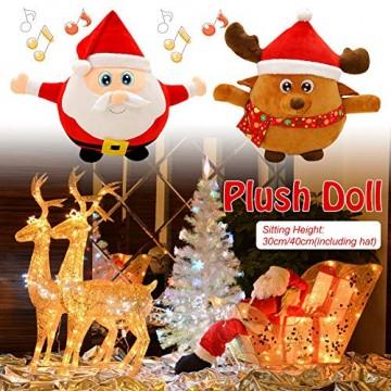 JFZCBXD Weihnachtsmann-Figur, bunter LED-Licht singt Christmas Song glühenden Licht Plüsch Weihnachtsmann gefüllter Puppe Spielzeug Schöne Geschenke für Kinder,Glowingmoose,35cm0.45KG - 2