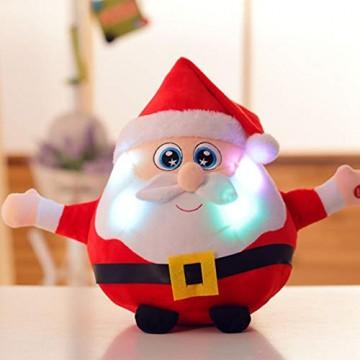 JFZCBXD Weihnachtsmann-Figur, bunter LED-Licht singt Christmas Song glühenden Licht Plüsch Weihnachtsmann gefüllter Puppe Spielzeug Schöne Geschenke für Kinder,Glowingmoose,35cm0.45KG - 4
