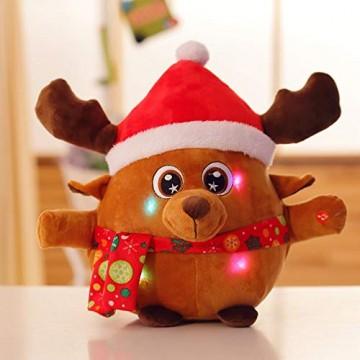 JFZCBXD Weihnachtsmann-Figur, bunter LED-Licht singt Christmas Song glühenden Licht Plüsch Weihnachtsmann gefüllter Puppe Spielzeug Schöne Geschenke für Kinder,Glowingmoose,35cm0.45KG - 1