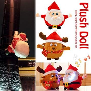 JFZCBXD Weihnachtsmann-Figur, bunter LED-Licht singt Christmas Song glühenden Licht Plüsch Weihnachtsmann gefüllter Puppe Spielzeug Schöne Geschenke für Kinder,Glowingmoose,35cm0.45KG - 5