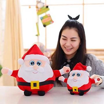 JFZCBXD Weihnachtsmann-Figur, bunter LED-Licht singt Christmas Song glühenden Licht Plüsch Weihnachtsmann gefüllter Puppe Spielzeug Schöne Geschenke für Kinder,Glowingmoose,35cm0.45KG - 6