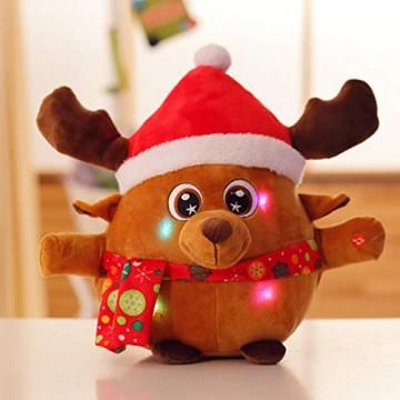 JFZCBXD Weihnachtsmann-Figur, bunter LED-Licht singt Christmas Song glühenden Licht Plüsch Weihnachtsmann gefüllter Puppe Spielzeug Schöne Geschenke für Kinder,Glowingmoose,35cm0.45KG - 7