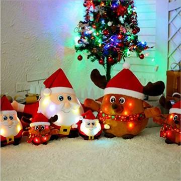 JFZCBXD Weihnachtsmann-Figur, bunter LED-Licht singt Christmas Song glühenden Licht Plüsch Weihnachtsmann gefüllter Puppe Spielzeug Schöne Geschenke für Kinder,Glowingmoose,35cm0.45KG - 8