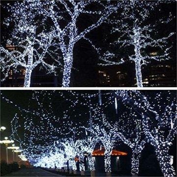 JMEXSUSS 2 Pack Solar Lichterkette 100LED 42.7ft 8 Modi Solar Weihnachtsbeleuchtung wasserdicht für Gärten, Hochzeit, Party, Häuser, Weihnachtsbaum, Vorhänge, im Freien (Weiß) - 2