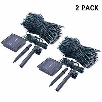 JMEXSUSS 2 Pack Solar Lichterkette 100LED 42.7ft 8 Modi Solar Weihnachtsbeleuchtung wasserdicht für Gärten, Hochzeit, Party, Häuser, Weihnachtsbaum, Vorhänge, im Freien (Weiß) - 4
