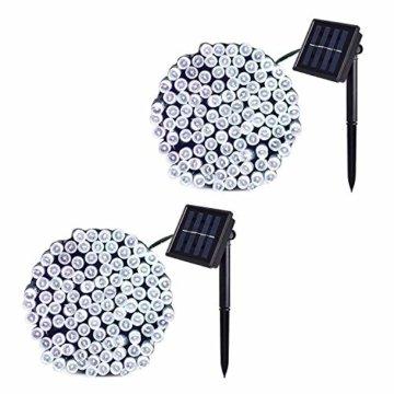 JMEXSUSS 2 Pack Solar Lichterkette 100LED 42.7ft 8 Modi Solar Weihnachtsbeleuchtung wasserdicht für Gärten, Hochzeit, Party, Häuser, Weihnachtsbaum, Vorhänge, im Freien (Weiß) - 1