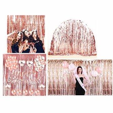 JNCH (1m x 2m) 6 STK Lametta Vorhänge Dekoration Folie Vorhang Glitzer Deko Glänzende Fransenvorhang Fransen Party Hintergrund Folien Glitzervorhang Schimmer Weihnachten Rosa - 4