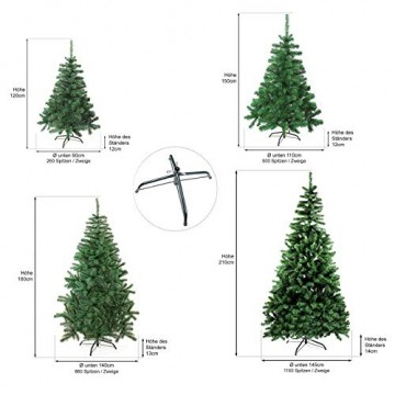 Julido Weihnachtsbaum Kunstbaum künstlicher Baum Tannenbaum Dekobaum Christbaum Grün mit Ständer 120cm 260 Spitzen - 2