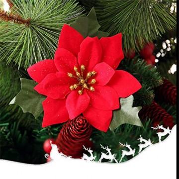 JUSTDOLIFE Weihnachtsstern Roter Samt Dekorative Künstliche Blumen für Weihnachten - 3
