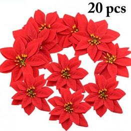 JUSTDOLIFE Weihnachtsstern Roter Samt Dekorative Künstliche Blumen für Weihnachten - 1