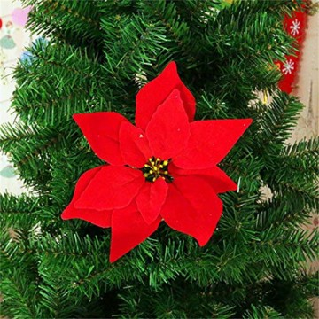 JUSTDOLIFE Weihnachtsstern Roter Samt Dekorative Künstliche Blumen für Weihnachten - 5