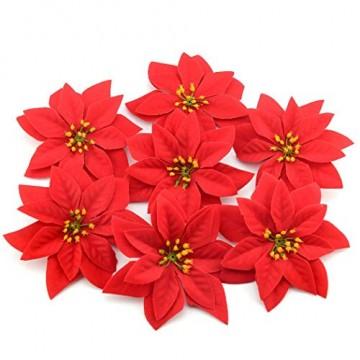 JUSTDOLIFE Weihnachtsstern Roter Samt Dekorative Künstliche Blumen für Weihnachten - 9