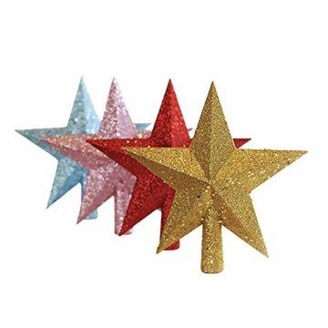 JYSPORT Weihnachtsbaumschmuck, Stern, glitzernd, 20 cm, Rosa (2), 20 cm - 4