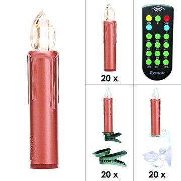 Kabellose LED Weihnachtskerzen Christbaumkerzen Deluxe mit Fernbedienung, Dimmer & Timer (1 bis 12 Std) - viele Farben wählbar - Weihnachtsbaumbeleuchtung (Kupfer 20er Set) - 2