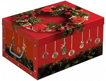 Kreher Set aus 3 Deko Kartons aus stabiler Pappe mit Griffen aus Kunststoff und Deckel. Mit Einsätzen für ca. 40 Christbaumkugeln. Design in Rot mit Weihnachtskranz. Stapelbar. Zur Selbstmontage. - 2