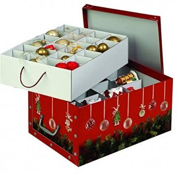 Kreher Set aus 3 Deko Kartons aus stabiler Pappe mit Griffen aus Kunststoff und Deckel. Mit Einsätzen für ca. 40 Christbaumkugeln. Design in Rot mit Weihnachtskranz. Stapelbar. Zur Selbstmontage. - 3