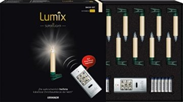 KRINNER Lumix LUMIX Elfenbein KRINNER LUMIIX Superlight Mini kabellose Power LED Christbaumkerzen 12er Basis-Set (Outdoor IP44), ABS Kunststoff, 1.5 x 1.5 x 9 cm - 1