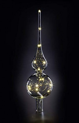 KRINNER Lumix LUMIX Tree Topper, kabellose, mundgeblasene Power LED Christbaumspitze, Klar, Glas, 0.014 W, 28 - 1
