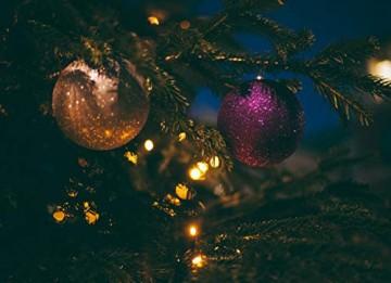 KRYSTAL 50 cm komplett geschmückt dekoriert Künstlicher Weihnachtsbaum mit 10 LED und Gold Deko, batteriebetrieben, warmweiß - 3