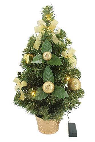 KRYSTAL 50 cm komplett geschmückt dekoriert Künstlicher Weihnachtsbaum mit 10 LED und Gold Deko, batteriebetrieben, warmweiß - 1