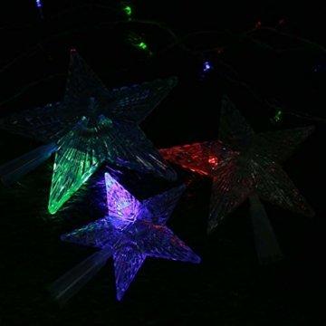 Kuizhiren1 Weihnachtsdekoration, Weihnachtsbaum-Spitze, mehrfarbiger, glänzender Stern, 14 cm - 2