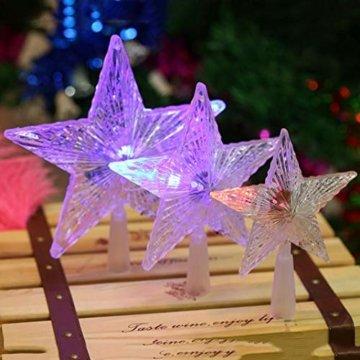 Kuizhiren1 Weihnachtsdekoration, Weihnachtsbaum-Spitze, mehrfarbiger, glänzender Stern, 14 cm - 3