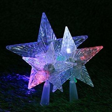 Kuizhiren1 Weihnachtsdekoration, Weihnachtsbaum-Spitze, mehrfarbiger, glänzender Stern, 14 cm - 4