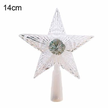 Kuizhiren1 Weihnachtsdekoration, Weihnachtsbaum-Spitze, mehrfarbiger, glänzender Stern, 14 cm - 1