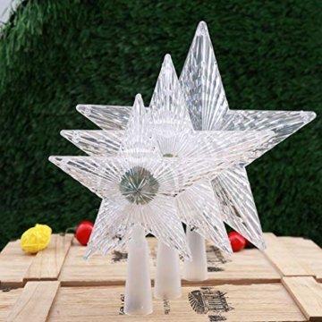 Kuizhiren1 Weihnachtsdekoration, Weihnachtsbaum-Spitze, mehrfarbiger, glänzender Stern, 14 cm - 5