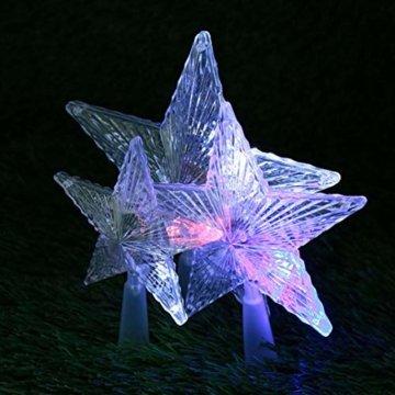 Kuizhiren1 Weihnachtsdekoration, Weihnachtsbaum-Spitze, mehrfarbiger, glänzender Stern, 14 cm - 6