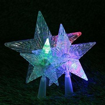 Kuizhiren1 Weihnachtsdekoration, Weihnachtsbaum-Spitze, mehrfarbiger, glänzender Stern, 14 cm - 7