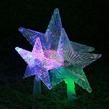 Kuizhiren1 Weihnachtsdekoration, Weihnachtsbaum-Spitze, mehrfarbiger, glänzender Stern, 14 cm - 8