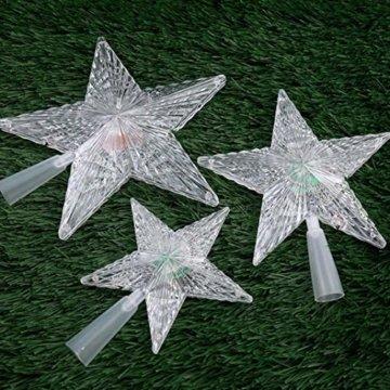 Kuizhiren1 Weihnachtsdekoration, Weihnachtsbaum-Spitze, mehrfarbiger, glänzender Stern, 14 cm - 9