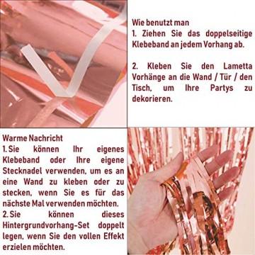 KYONANO Lametta Vorhänge, 6 STK Metallic Tinsel Vorhänge (1m x 2m) mit 10 STK Latex Konfetti Luftballon, metallischer Glanz Fransenvorhang, Glitzervorhang für Weihnachtsdeko Party Rosegold(16er/Set) … - 3