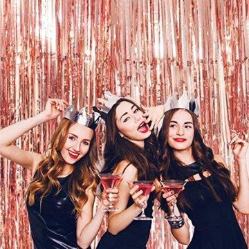 KYONANO Lametta Vorhänge, 6 STK Metallic Tinsel Vorhänge (1m x 2m) mit 10 STK Latex Konfetti Luftballon, metallischer Glanz Fransenvorhang, Glitzervorhang für Weihnachtsdeko Party Rosegold(16er/Set) … - 4