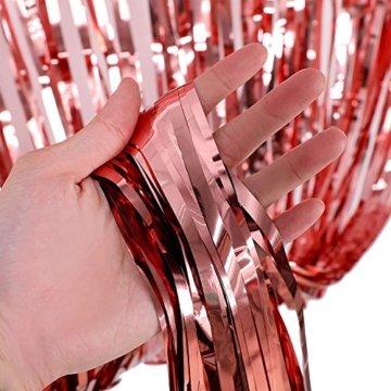KYONANO Lametta Vorhänge, 6 STK Metallic Tinsel Vorhänge (1m x 2m) mit 10 STK Latex Konfetti Luftballon, metallischer Glanz Fransenvorhang, Glitzervorhang für Weihnachtsdeko Party Rosegold(16er/Set) … - 5