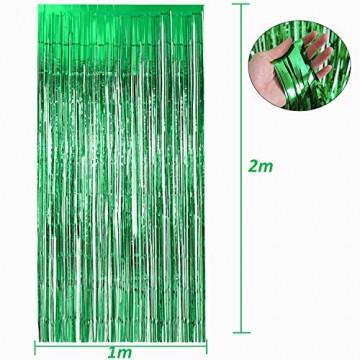 Lametta Vorhänge grün, Gxhong 2 Stück Metallic Tinsel Vorhänge/Folie Fringe Shimmer Vorhang Glitzer Deko Geburtstag Lametta Vorhänge Quaste Folie Vorhang (Grün) - 3