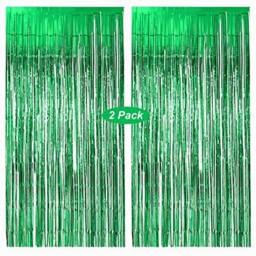 Lametta Vorhänge grün, Gxhong 2 Stück Metallic Tinsel Vorhänge/Folie Fringe Shimmer Vorhang Glitzer Deko Geburtstag Lametta Vorhänge Quaste Folie Vorhang (Grün) - 1
