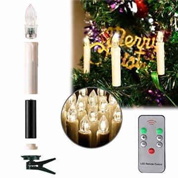 LARS360 LED Kerzen Weihnachts Kerzen Kabellos mit Fernbedienung Christbaumkerzen Flammenlose Lichterkette Kerzen für Weihnachtsbaum, Weihnachtsdeko, Feiertag - 40 Stück Warmweiß Weihnachtskerzen - 3