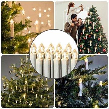 LARS360 LED Kerzen Weihnachts Kerzen Kabellos mit Fernbedienung Christbaumkerzen Flammenlose Lichterkette Kerzen für Weihnachtsbaum, Weihnachtsdeko, Feiertag - 40 Stück Warmweiß Weihnachtskerzen - 5