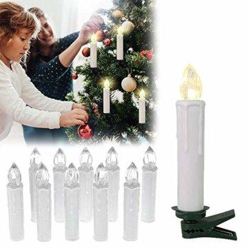 LARS360 LED Kerzen Weihnachts Kerzen Kabellos mit Fernbedienung Christbaumkerzen Flammenlose Lichterkette Kerzen für Weihnachtsbaum, Weihnachtsdeko, Feiertag - 40 Stück Warmweiß Weihnachtskerzen - 6