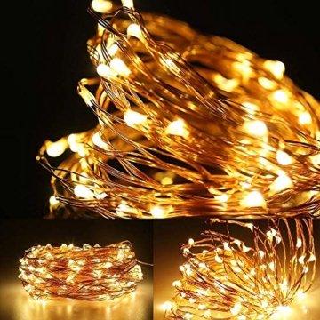 LE 22M LED Lichterkette Draht aus Kupferdraht, 200 LEDs, Wasserdicht IP65, Strombetrieben mit Stecker, Ideale Weihnachtsbeleuchtung für Außen, Innen, Zimmer, Party, Hochzeit Deko usw. Warmweiß - 3