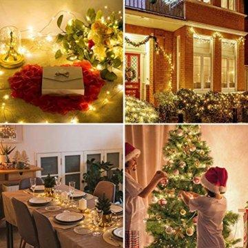 LE 22M LED Lichterkette Draht aus Kupferdraht, 200 LEDs, Wasserdicht IP65, Strombetrieben mit Stecker, Ideale Weihnachtsbeleuchtung für Außen, Innen, Zimmer, Party, Hochzeit Deko usw. Warmweiß - 8
