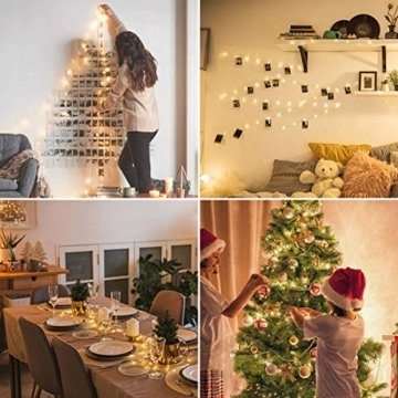 LE 22M LED Lichterkette Draht aus Kupferdraht, 200 LEDs, Wasserdicht IP65, Strombetrieben mit Stecker, Ideale Weihnachtsbeleuchtung für Außen, Innen, Zimmer, Party, Hochzeit Deko usw. Warmweiß - 10