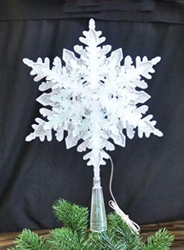 LED Christbaumspitze Batterie 3D Optik Stern Kunststoff 34,5 x 22,5 cm Silber Weiß Glitzer 9 LEDs Weihnachtsbaum Spitze - 3