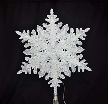 LED Christbaumspitze Batterie 3D Optik Stern Kunststoff 34,5 x 22,5 cm Silber Weiß Glitzer 9 LEDs Weihnachtsbaum Spitze - 4